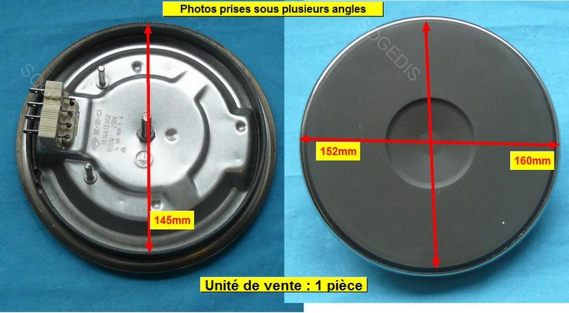 PLAQUE PLAQUE ELECTRIQUE 145mm 1000w 4mm EGO 13.14413.002