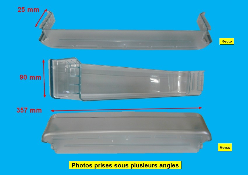 BALCONNET FROID BOUTEILLES TRANSPARENT VERT 365*80 H=90mm