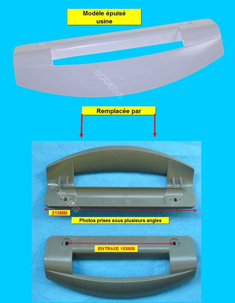 POIGNEE Froid PORTE Blanc 210mm (entraxe 152mm) remplacée par kaki - 1