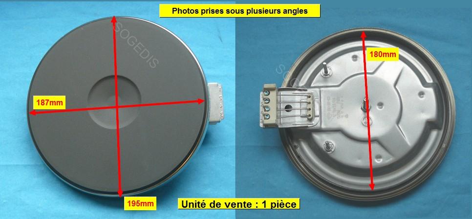 PLAQUE PLAQUE ELECTRIQUE 180mm 2000w 8mm