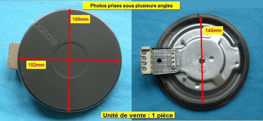 PLAQUE PLAQUE ELECTRIQUE 145mm 1000w 8mm 12.14453.194