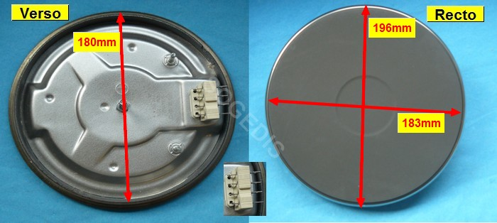 PLAQUE CUISINIÈRE ELECTRIQUE 180MM 1500W 8mm COSSES HP-F180